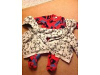 2 fleece jackets and 1 sleepsuits 3-6 months