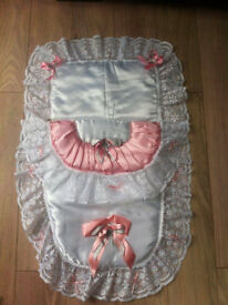 Silk pram blanket with pillow. Never been used