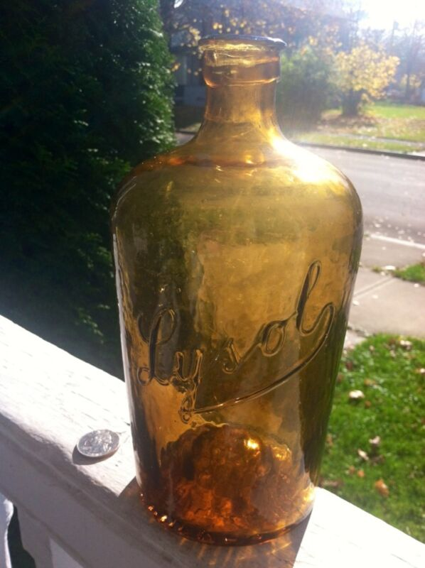 Rare Yellow Amber Emb Lysol Killer Color Early Example