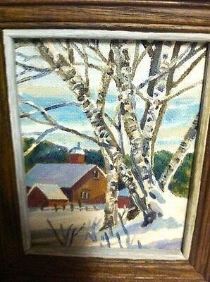 Small Oil Painting Upstate Ny Farm & Birch Tree Framed 6-3/4