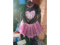 Girls Halloween Cat with ears all in one as new pink & black 11-12 years