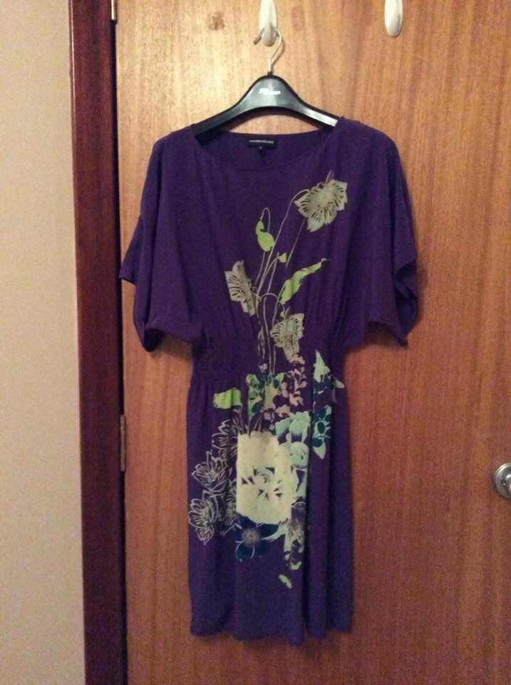 Purple dress with floral pattern, size 10