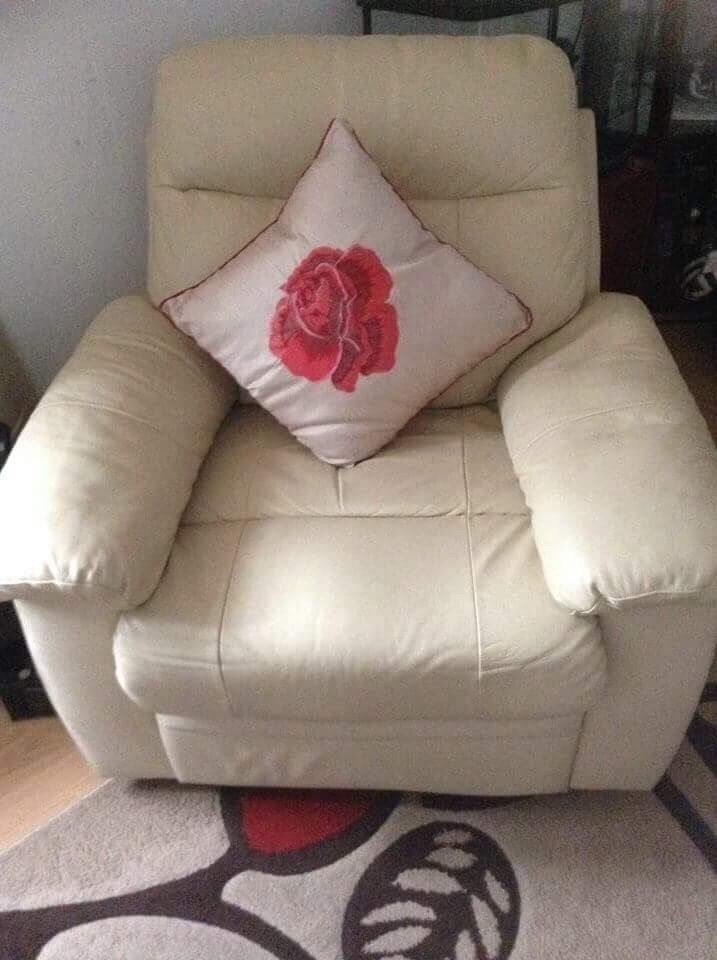 3,2&1, Recliner, Leather, Cream Sofas