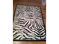 NEW black and white animal print rug hallway living room sofa fire