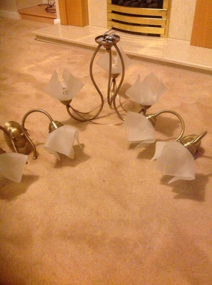 Central light fitting plus 2 wall lightsin Roundhay, West YorkshireGumtree - Central light fitting in brushed antique brass colour, three frosted shaped light shades hung from central rose ,matching wall lights x2 .good condition