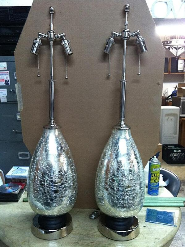 Super Rare Large Art Deco  Mercury Glass Lamps