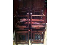 indian solid wood dining set - table and dining chairs(dark wood)very heavy NO SWAPS NO OFFERS £300