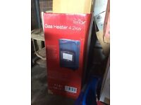 ELPIN PORTABLE GAS HEATER WITH GAS BOTTLE (SOME GAS LEFT) - HARDLY USED - ON WHEELS - £25.00