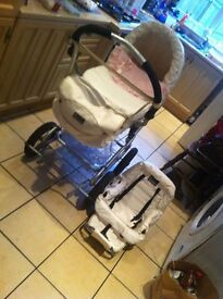 STUNNING!white leather baystyle lux collection pram!