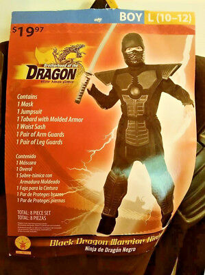 BLACK DRAGON WARRIOR NINJA HALLOWEEN COSTUME BY RUBIES BOY LRG (10-12) FREE SHIP ()