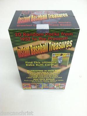 INSTANT BASEBALL TREASURES BOX 20 PACKS+50/60s VINTAGE+AUTO/JERSEY+GRADED HOF