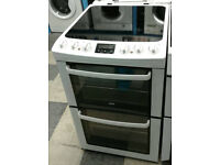 l347 white zanussi 55cm double oven gas cooker comes with warranty can be delivered or collected