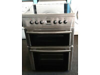 a202 stainless steel beko 60cm double oven ceramic hob electric cooker comes with warranty