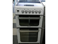 f734 white hotpoint 50cm double oven ceramic hob electric cooker comes with warranty