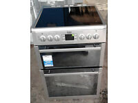 h102 silver beko 60cm double oven ceramic hob electric cooker graded 12 months warranty can deliver