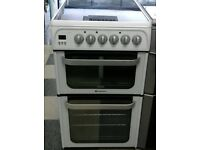 e734 white hotpoint 50cm double oven electric cooker comes with warranty can be delivered