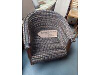 Rattan & Wood Tub Chair