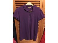 Used Genuine Authentic Burberry Brit Purple Polo Shirt Size Small UK 8