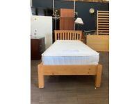 Pine single bed with memory foam mattress