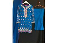 Blue and multi-colored semi-formal brochia shirt paired with culottes & dupatta