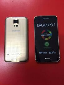 SAMSUNG GALAXY S5 SIMFREE IN GOLD GRADE B COMES WITH CHARGER AND THREE MONTHS WARRANTY