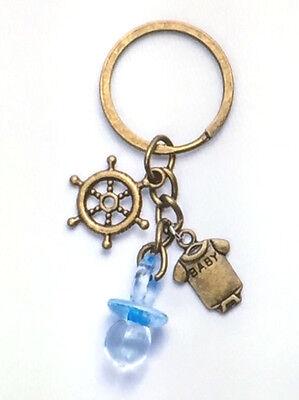 15 Blue Nautical Rudder Pacifier Antique Bronze Keychain Baby Shower Favors