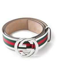 BRAND NEW Genuine White Designer Gucci Belt Silver And Gold Buckle Red and Green Gucci Stripes