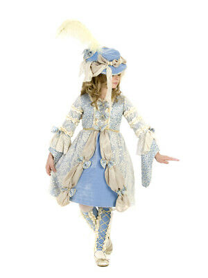 New Princess Paradise Madame Marie Blue & Ivory French Girl's COSTUME With HAT - French Girl Costumes