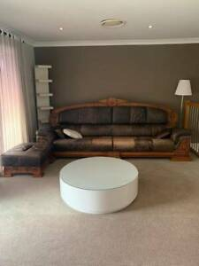 leather sofa for 5 ppl and tea table with glass Heathwood Brisbane South West Preview
