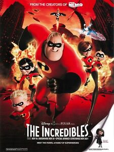 THE INCREDIBLES movie poster : Walt Disney/Pixar - 12 x 16 inches