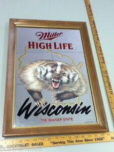 Nz2 Miller Beer Sign High Life Mirror Wisconsin Badger