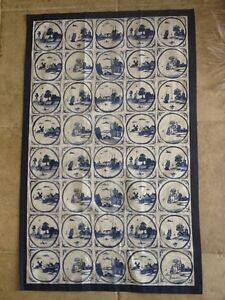 BLUE AND WHITE DELFT TILE TEA TOWEL STUNNINGLY BEAUTIFUL BRITISH MADE 100%cotton