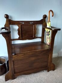 Antique Arts and Crafts Hall Chair / Umbrella Stand with hinged seat