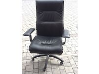 Black, leather effect, office chair.