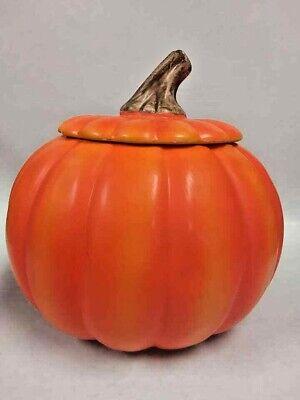 Autumn Fall Halloween Ceramic Large Orange Pumpkin Cookie Jar Canister