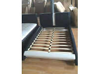 Ex-Display Black & White Jameson Double (4FT6) Faux Leather Bed Frame (FREE LOCAL DELIVERY!!!)