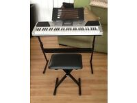 Rock jam electric keyboard with stand and stool