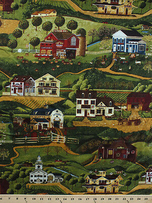 Country Town Buildings Farms Rural Yesteryear Cotton Fabric Print Bty D772 30