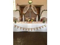Rustic/Boho wedding decorations- bunting, tea lights, table numbers, mr & mrs sign, & drapes