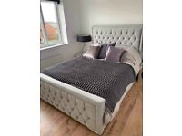 🎆💖🎆STRONG & STURDY MATERIAL🎆💖🎆 Double Heaven bed Frame With Diamond Buttons in Grey Color