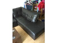 Brown corner sofa leather not faux