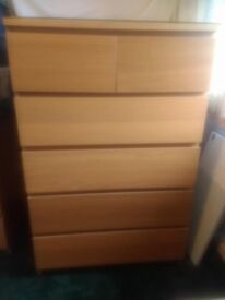 IKEA MALM OAK DRAWERS WITH GLASS TOP, GREAT CONDITION
