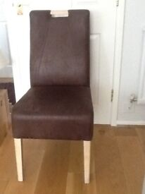 Dark brown leather dining room chairs, pristine condition