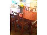 6seater extending yew wood dining set