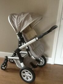 Joolz Danish designer silver/grey Pram & pushchair - great used condition - lovely to push and steer