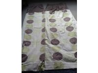 Cream, green and brown cotton curtains. 63 inch width x 66inch length. Fully lined, pencil pleat top