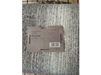 Two as new grey and white throws from Dunelm