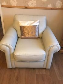 Cream two seater and chair
