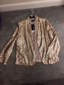 BNWT Gold Sequin jacket size 16