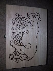 Large wooden box with hand burnt pyrography design - one of a kind
